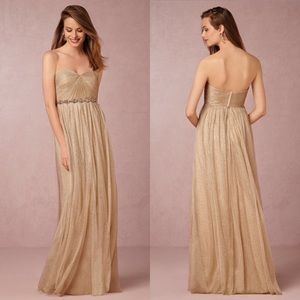 NWT Jenny Yoo Annabelle Gold Metallic Tulle Gown